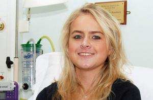 Lung transplant patient Becky Jones at the hospital in Manchester. Photo: PA