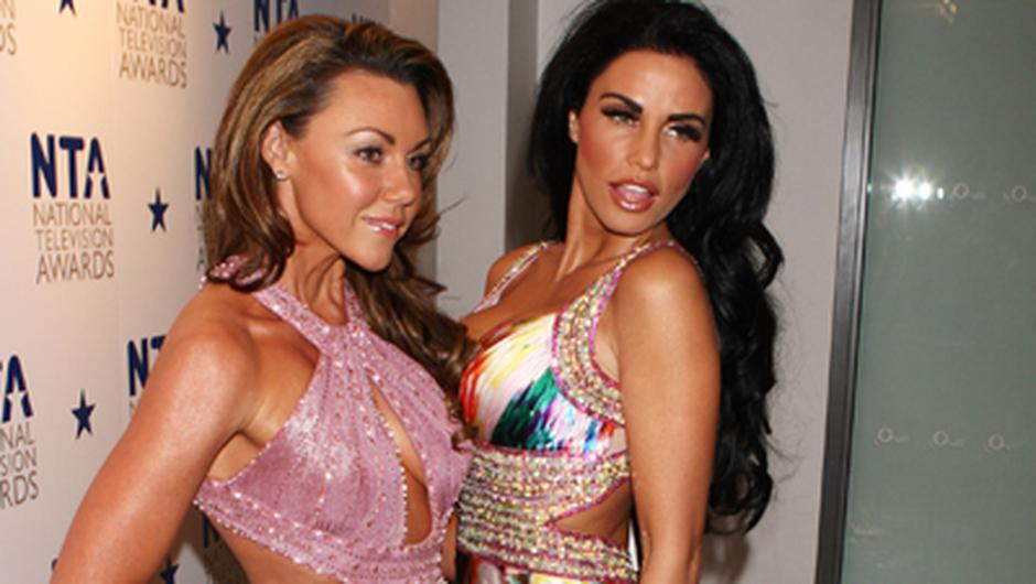 Michelle Heaton and Katie Price arrive at the National Television Awards. Photo: Getty Images