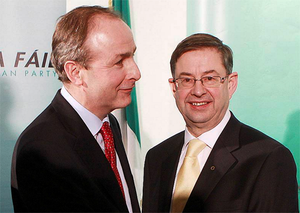Eamonn O Cuiv (right), the grandson of party founder and Ireland's first Taoiseach Eamon De Valera, stood down after clashing with leader Martin over the upcoming referendum on the EU deal.