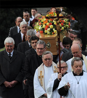 Casey Kearney's coffin is carried out of St Wilfrid's Church, Cantley, Doncaster after her funeral service. Photo: PA