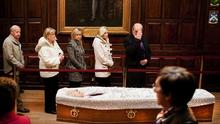 PAYING RESPECTS: People file past the coffin of Dr Garret FitzGerald in the Mansion House's Oak Room, Dublin, yesterday. Photo: David Conachy