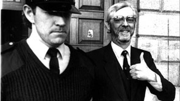 Vinnie Connell leaving court after his conviction for the young woman's murder was overturned in 1991
