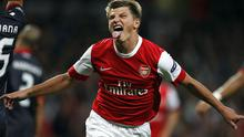 Andrey Arshavin, here celebrating scoring for Arsenal against Braga, will carry a big threat for Russia against Ireland this Friday. Photo: PA