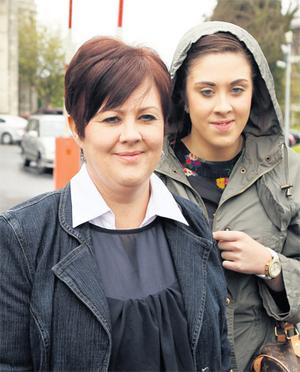 Fred Foresey's ex-wife Jenny and daughter Amy – who got a text message from Mr Forsey which was intended for his lover – outside court during the trial