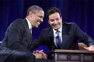 U.S. President Barack Obama speaks with host Jimmy Fallon during an appearance on Late Night with Jimmy Fallon. Photo: Getty Images