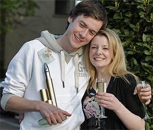 Niall Smyth from Ennis, Co Clare, with his girlfriend Kimberley Madigan yesterday evening