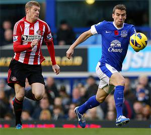Irish internationals James McClean and Seamus Coleman in action in the Premier League at the weekend. James McClean declined to wear a jersey with a poppy