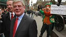 Labour Party leader Eamon Gilmore is pictured canvassing with Labour candidate for Dublin South East Kevin Humphreys (left) on Grafton Street, Dublin. Photo: PA