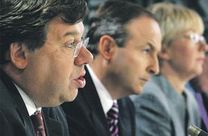 Brian Cowen with former cabinet colleagues Micheal Martin and Mary Hanafin