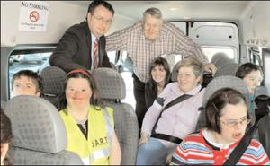 On board the Duhallow Area Rural Transport (DART) bus from COPE, Mallow on the DART Awareness Day were Deputy Michael Moynihan, Jack Roche, chairperson, Rural Transport Network and Yvonne Brosnan, DART co-ordinator. Photo by Patrick Casey