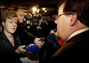 Taoiseach Brian Cowen is questioned about his drinking by TV3' s Ursula Halligan at the Ardilaun Hotel yesterday. Photo: Steve Humphreys