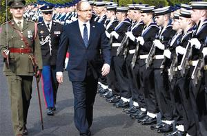 Prince Albert inspects the guard of honour at Aras An Uachtarain
