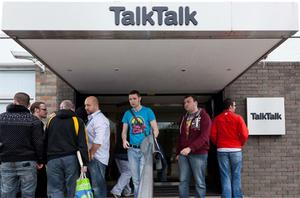 Workers gather outside Talk Talk in Waterford