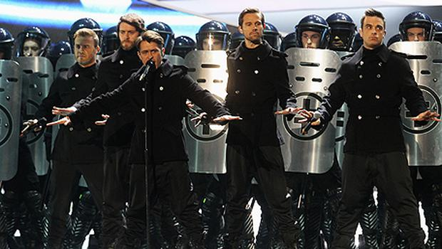 Take That perform onstage at The Brit Awards. Photo: Getty images