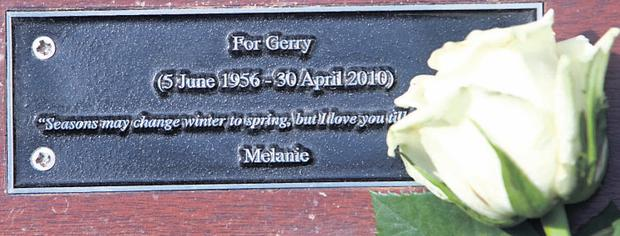 A rose on the new bench for Gerry Ryan at Herbert Park, Dublin 4
