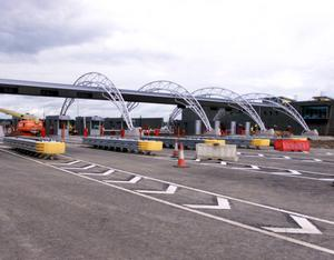 Toll booths on the M1 motorway.