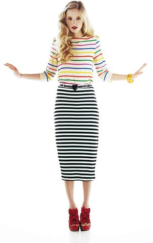 Camilla stripe top, €36.99; Holly midi skirt, €33.50, and red-bow platforms, €94, all River Island