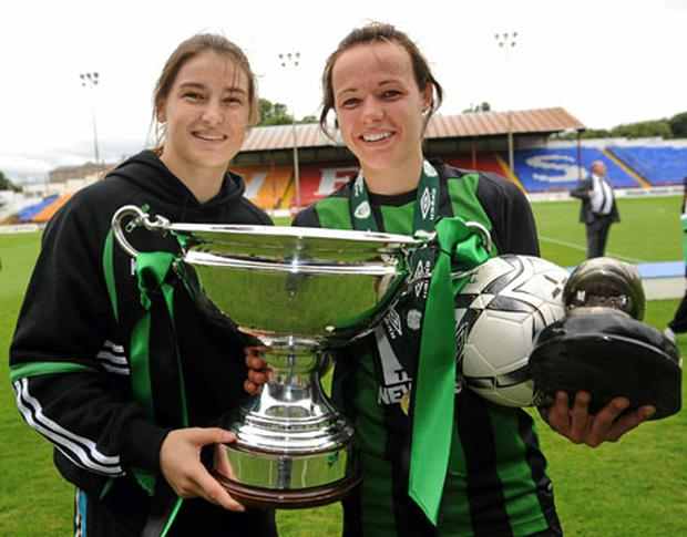Katie Taylor and Aine O'Gorman of Peamount United.