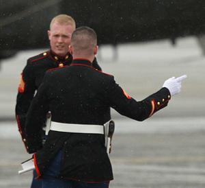 Two US Marines are seen at Dublin airport ahead of the arrival of US President Barack Obama. Photo: PA