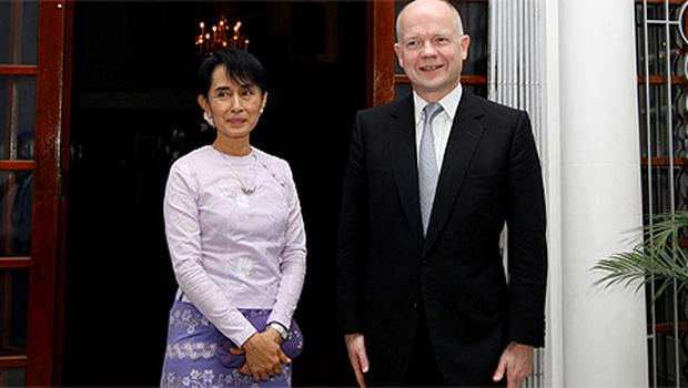Aung San Suu Kyi pictured with British Foreign Minister William Hague