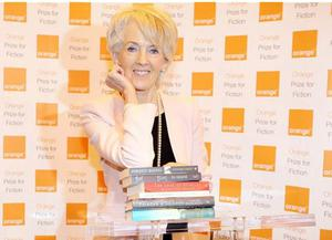 Joanna Trollope, Chair of the Orange Prize for Fiction, with the shortlisted books