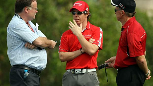 Rory McIlroy talks to Irish Independent golf correspondent Karl MacGinty (left) and his colleague Bernie McGuire yesterday. Photo: Getty Images