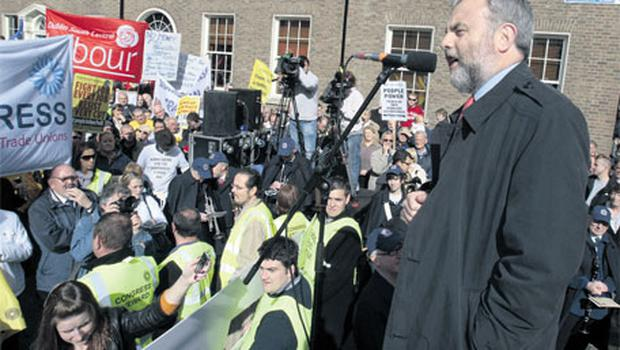 Jack O'Connor, general president of ICTU, addressing the protest at Leinster House last year