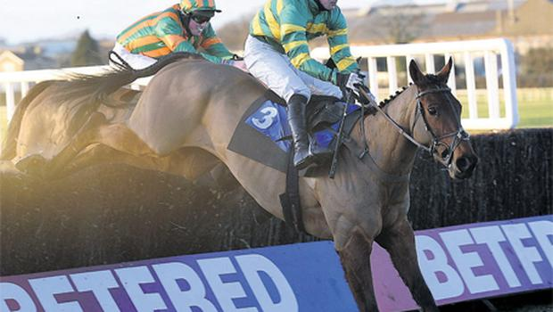 Richie McLernon guides the JP McManus-owned Hopeful Start over the last on the way to victory at Wethebry yesterday