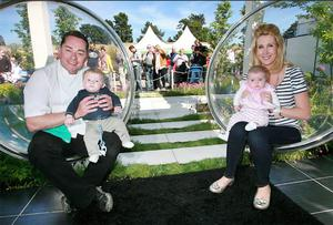 Neven and Amelda Maguire with their twins, Conor and Lucia at Bloom.