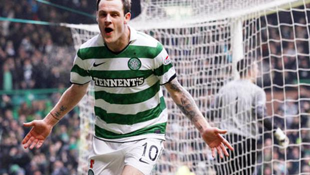 Anthony Stokes celebrates his winning goal against Aberdeen which stretched Celtic's lead at the top of the SPL. Photo: Reuters