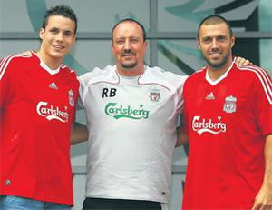 Liverpool boss Rafael Benitez unveils two new signings Philipp Degen (left) and Andrea Dossena back in 2008