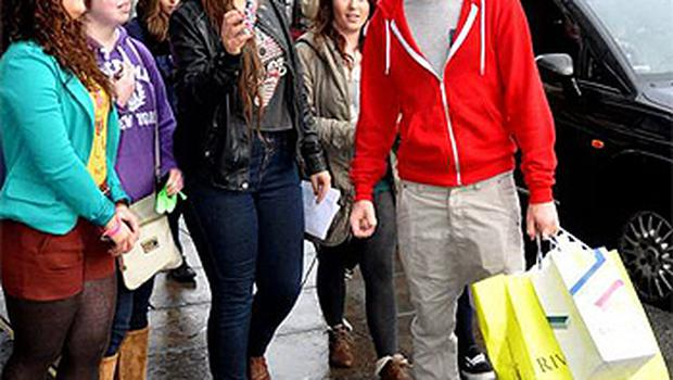 One Direction's Niall Horan with female fans in Dublin