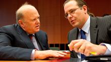 At the meeting of European finance ministers in Brussels where they discussed the European Stability Fund Mechanism were Finance Minister Michael Noonan with Swedish counterpart Anders Borg. Photo: Peter Cavanagh