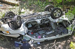 The destroyed van that plunged over the Bronx River Parkway, killing seven people, including three children. Photo: AP