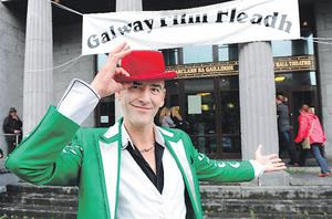 Phil Dirtbox from London at the screening of 'Unlawful Killing' at Galway town hall