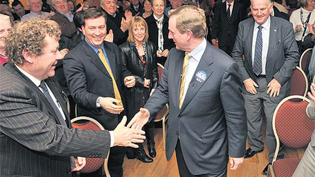 Enda Kenny arriving to address supporters at the Bush Hotel in Carrick-on-Shannon last night
