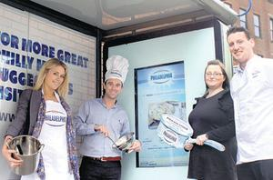 Laura Hendrick, Clear Channel; Karl Tyndall, Kraft Foods; Sarah Taylor, PHD; and Albi Larkin, PML at the bus shelter