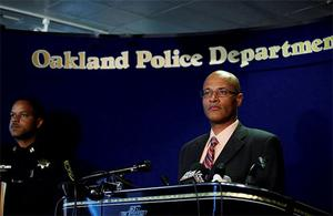 Oakland Police Chief Howard Jordan briefs the media at the Oakland Police Headquarters after a lone gunman opened fire killing seven people and wounding three at Oikos University in Oakland, California. Photo: Reuters