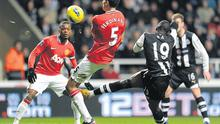 Newcastle United's Demba Ba scores his side's first goal during the Premier League clash at St James' Park