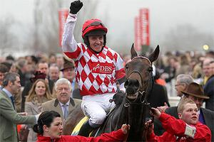 Barry Geraghty celebrates victory on Riverside Theatre after winning the Ryanair Chase at Cheltenham