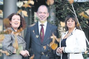 Leafy interlude: Launching the PwC survey on environmental initiatives 'Appetite for Change' were, from left, Ann O'Connell, sustainability leader, PwC; Vincent Cleary, MD, Glenisk Organic Dairy, and Alisa Hayden, partner, manufacturing services, PwC. Photo: Maxwells