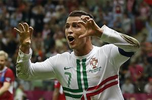 Portugal's Cristiano Ronaldo celebrates after scoring the winning goal against the Czech Republic. Photo: AP