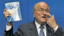 Sepp Blatter talks to the media during a press conference in Zurich, Switzerland, yesterday