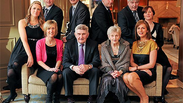 Hall of Fame recipient, Gaelic football legend Mick O'Dwyer with his family, clockwise, from left, Sandra O'Dwyer, Robert O'Dwyer, Karl O'Dwyer, John O'Dwyer, Michéal O'Dwyer, Elizabeth O'Dwyer, Geraldine O'Dwyer, wife Mary Carmel O'Dwyer, and Mary O'Dwyer at the Croke Park Hotel/Irish Independent Sportstar of the Year Lunch yesterday