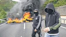 Miners block a road during a protest in Leon, Spain, yesterday