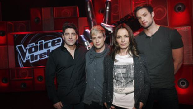 Coaches Brian Kennedy,Kian Egan ,Sharon Corr and Bressie  on the set of The Voice of Ireland in The Helix...KOBPIX.....NO FEE