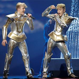Jedward gave their fans a first look yesterday at the costumes and hairstyles they hope will propel them to Eurovision glory in Azerbaijan. The twins wore silver costumes resembling knights in armour and ended their act being drenched by water fountains