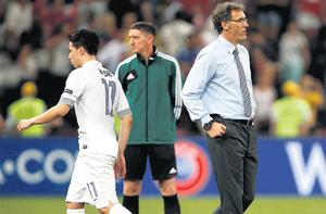 French boss Laurent Blanc and sub Samir Nasri have little to say after the team's defeat
