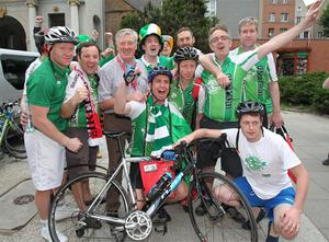 The Pedal to Poland charity team who cycled from Dublin, with RTE presenter Pat Kenny on their arrival in Gdansk. Photo: PA