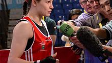 Katie Taylor, Ireland, is interviewed by members of the media after a walk over against Mihaela Lacatus, Romania, in their Lightweight 60kg Bout. Photo: Sportsfile